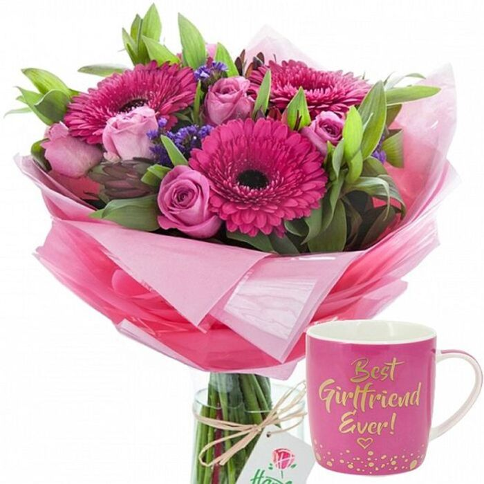 Sorbet Flower Display and Best Girlfriend Mug Available with Next Day Delivery.